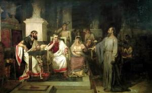 Суриков В.И. Апостол Павел объясняет догматы веры в присутствии царя Агриппы и сестры его Вероники. 1875