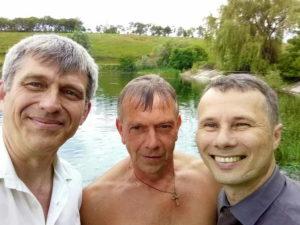 Дмитрий Юшковский, Олег Рыбалко и Владимир Ярош после крещения
