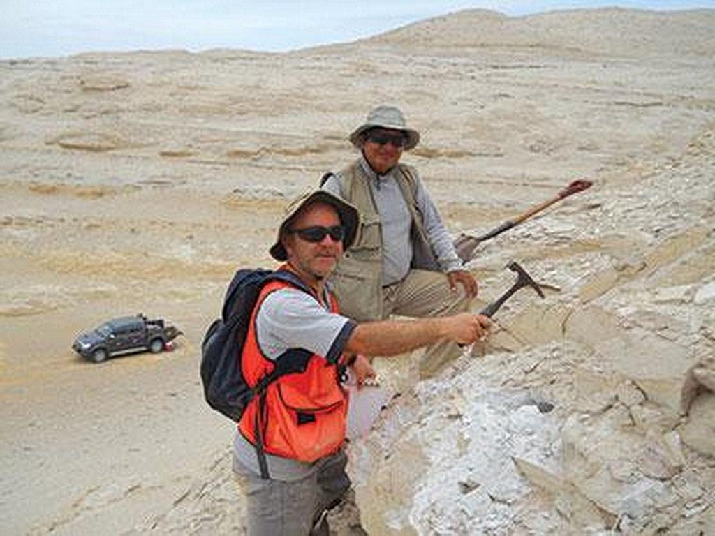 Рауль Эсперанте, слева, во время одной из своих экспедиций по раскопкам и изучению окаменевших костей китов в Перу. [Фото: Adventist Review]