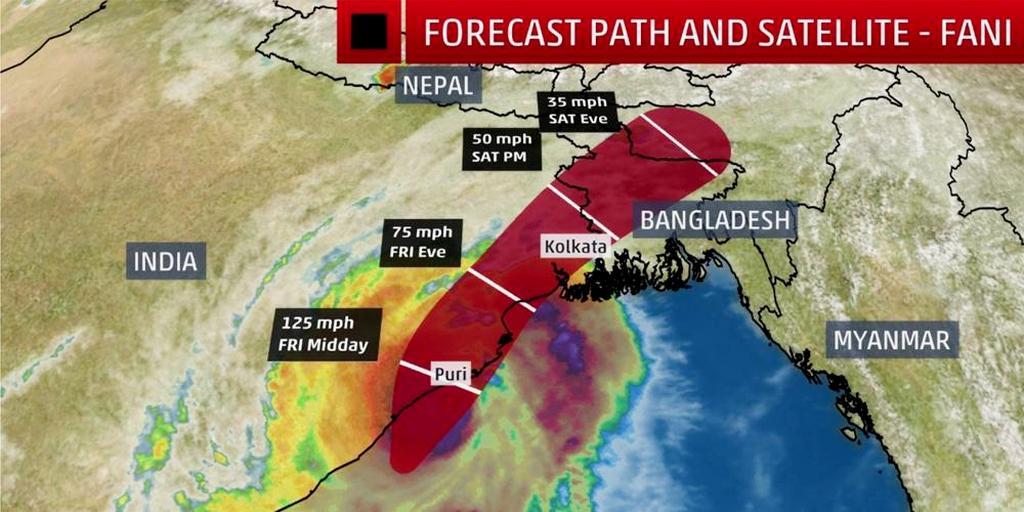 Более 100 миллионов человек в Индии и Бангладеш находятся на пути шторма. [Фото: Weather.com]