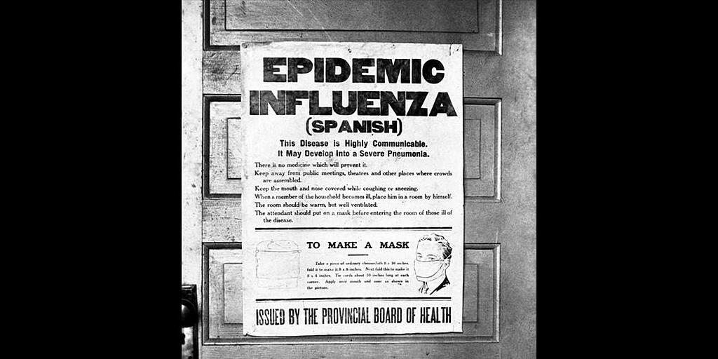 Фотография плаката, выпущенного советом здравоохранения провинции Альберта, предупреждающего общественность об эпидемии гриппа 1918 года. [Университет Калгари Пресс Сентябрь 2016]