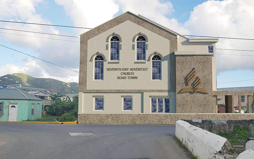Предоставление художником дизайна нового здания церкви адвентистов седьмого дня в Роуд-Тауне, строительство которого планируется начать в апреле 2021 года. [Изображение: любезно предоставлено Сильвестром Уильямсом]