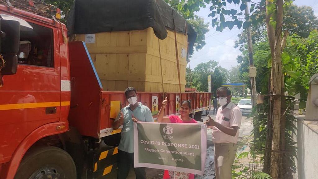 Система генерации кислорода, подаренная Адвентистским Агентством Развития и Помощи (ADRA), прибывает в Индию для оказания неотложной помощи пациентам с COVID-19. [Фото: ADRA Индии]