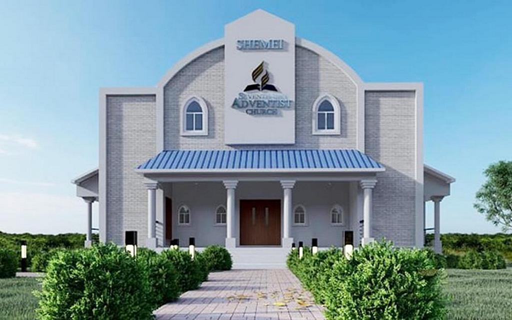 Изображение планируемого нового духовного центра на острове Ангилья, который будет включать общественный центр в цокольном этаже и помещение для богослужений на 250 мест. Планируется, что строительство будет завершено к 2025 году. [Изображение: любезно предоставлено Северо-Карибской конференцией].